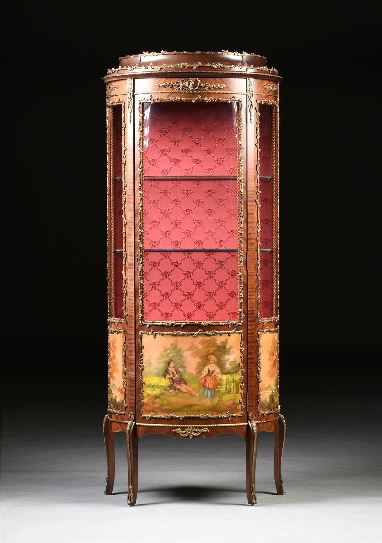 A LOUIS XVI STYLE POLISHED BRASS MOUNTED LAMINATE AND