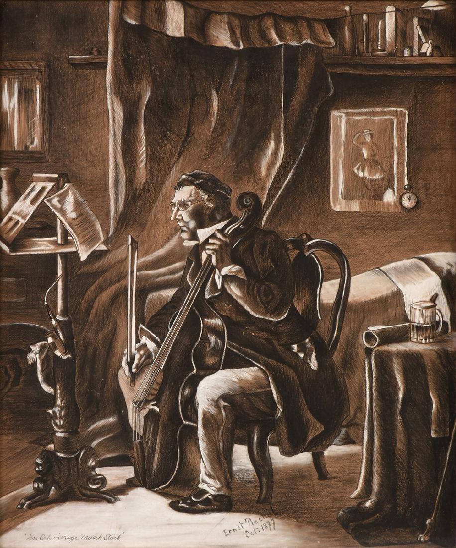 ERNST RECHEL (German 19th century) A PAIR OF DRAWINGS, - 10