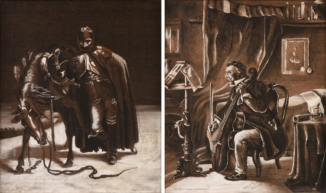 ERNST RECHEL (German 19th century) A PAIR OF DRAWINGS,