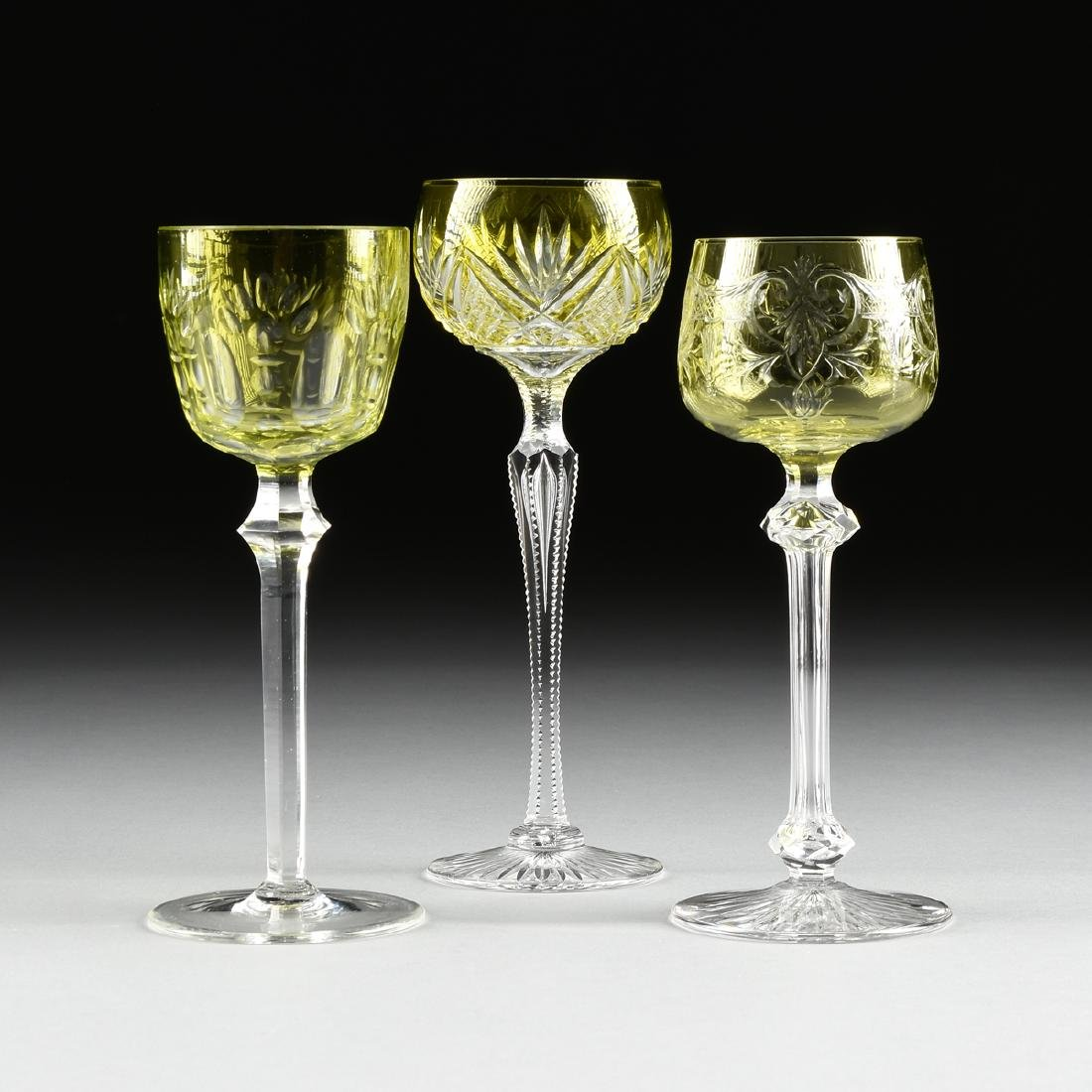 A GROUP OF THREE BOHEMIAN URANIUM CUT TO CLEAR WINE