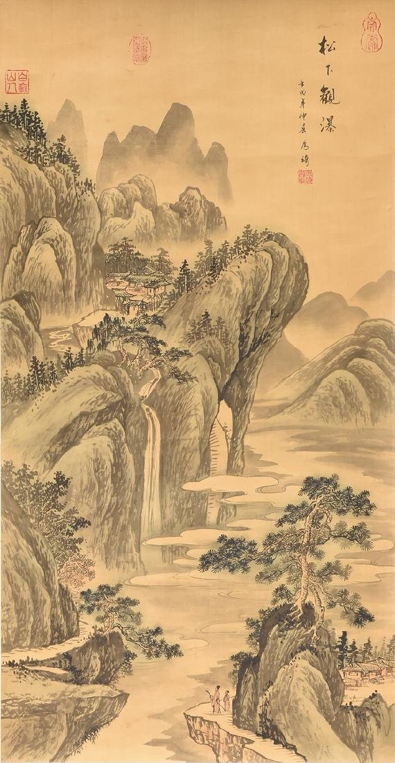 A JAPANESE KANO SCHOOL WATERCOLOR ON SILK SCROLL,