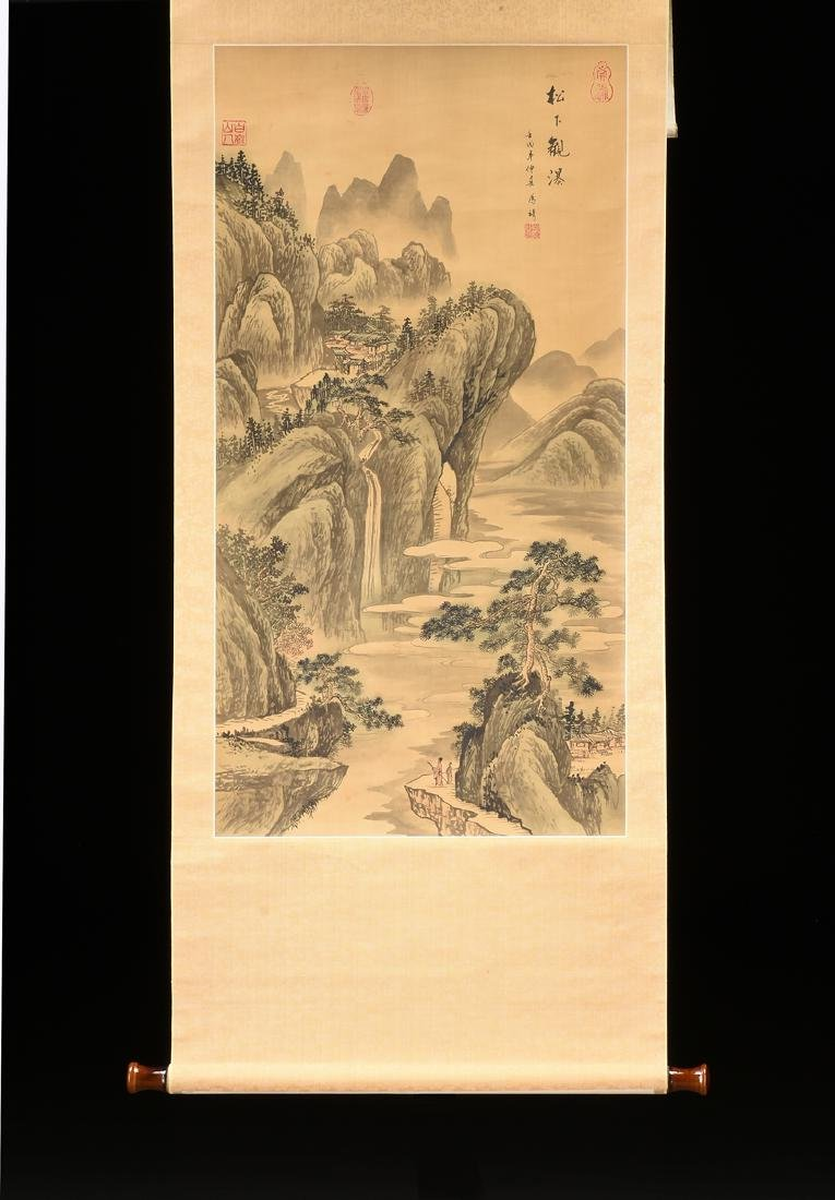 A JAPANESE KANO SCHOOL WATERCOLOR ON SILK SCROLL, - 2