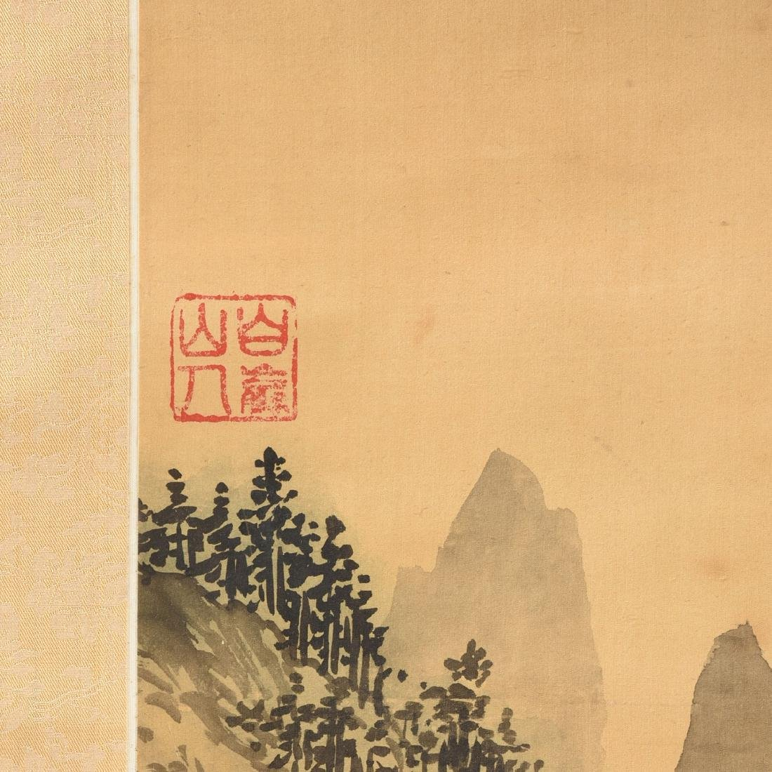 A JAPANESE KANO SCHOOL WATERCOLOR ON SILK SCROLL, - 4