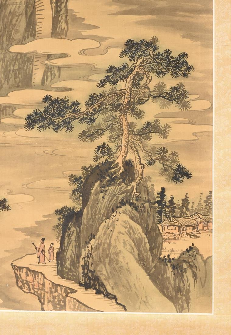 A JAPANESE KANO SCHOOL WATERCOLOR ON SILK SCROLL, - 6