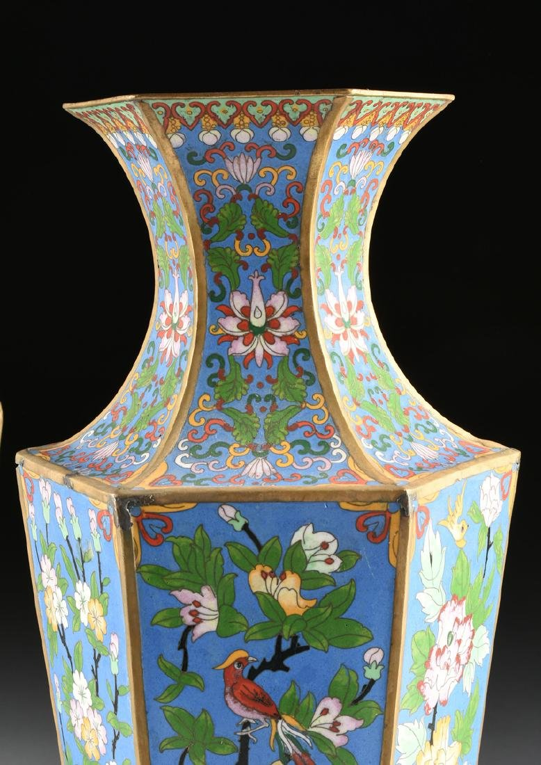 A PAIR OF LARGE VINTAGE CHINESE EXPORT CLOISONNÉ VASES, - 2