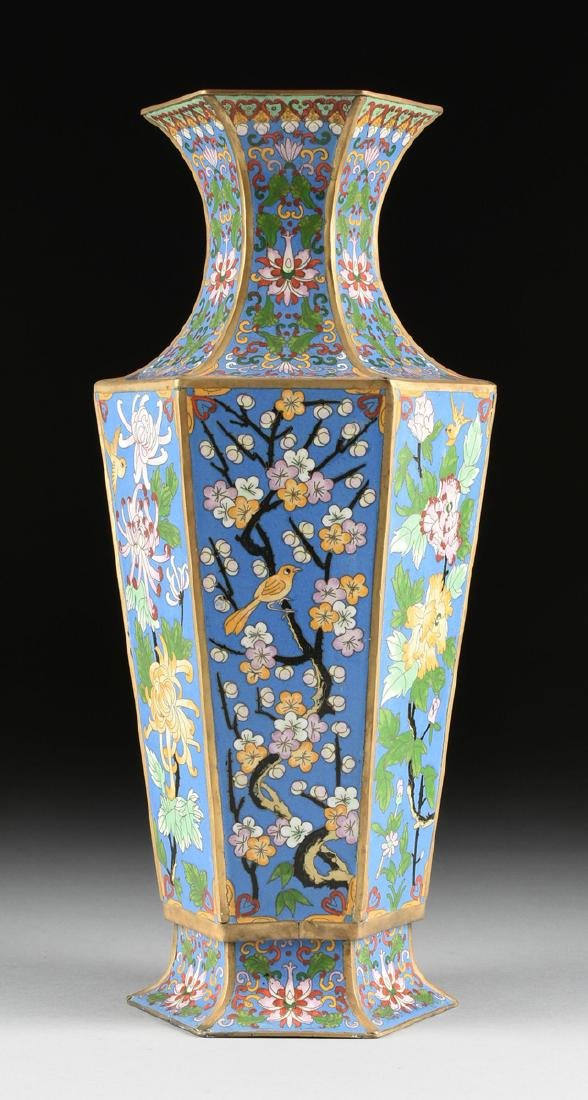 A PAIR OF LARGE VINTAGE CHINESE EXPORT CLOISONNÉ VASES, - 5