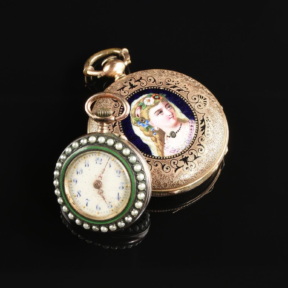 A GROUP OF TWO ENAMELED LADY'S POCKET WATCHES,