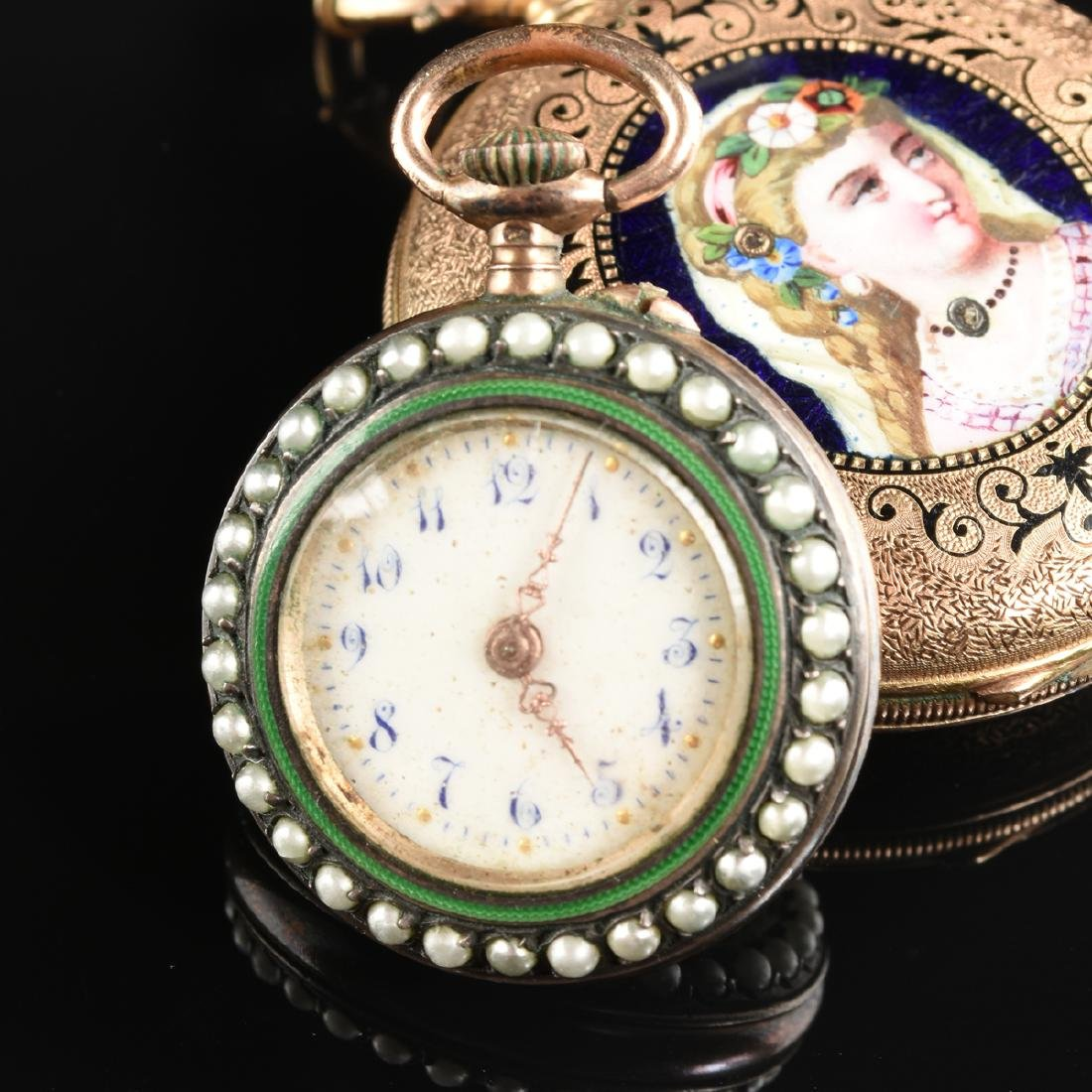 A GROUP OF TWO ENAMELED LADY'S POCKET WATCHES, - 2