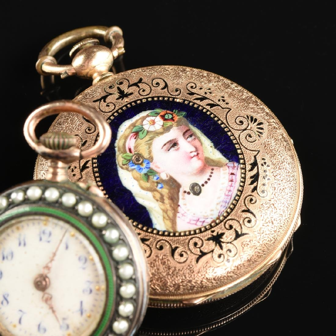 A GROUP OF TWO ENAMELED LADY'S POCKET WATCHES, - 3