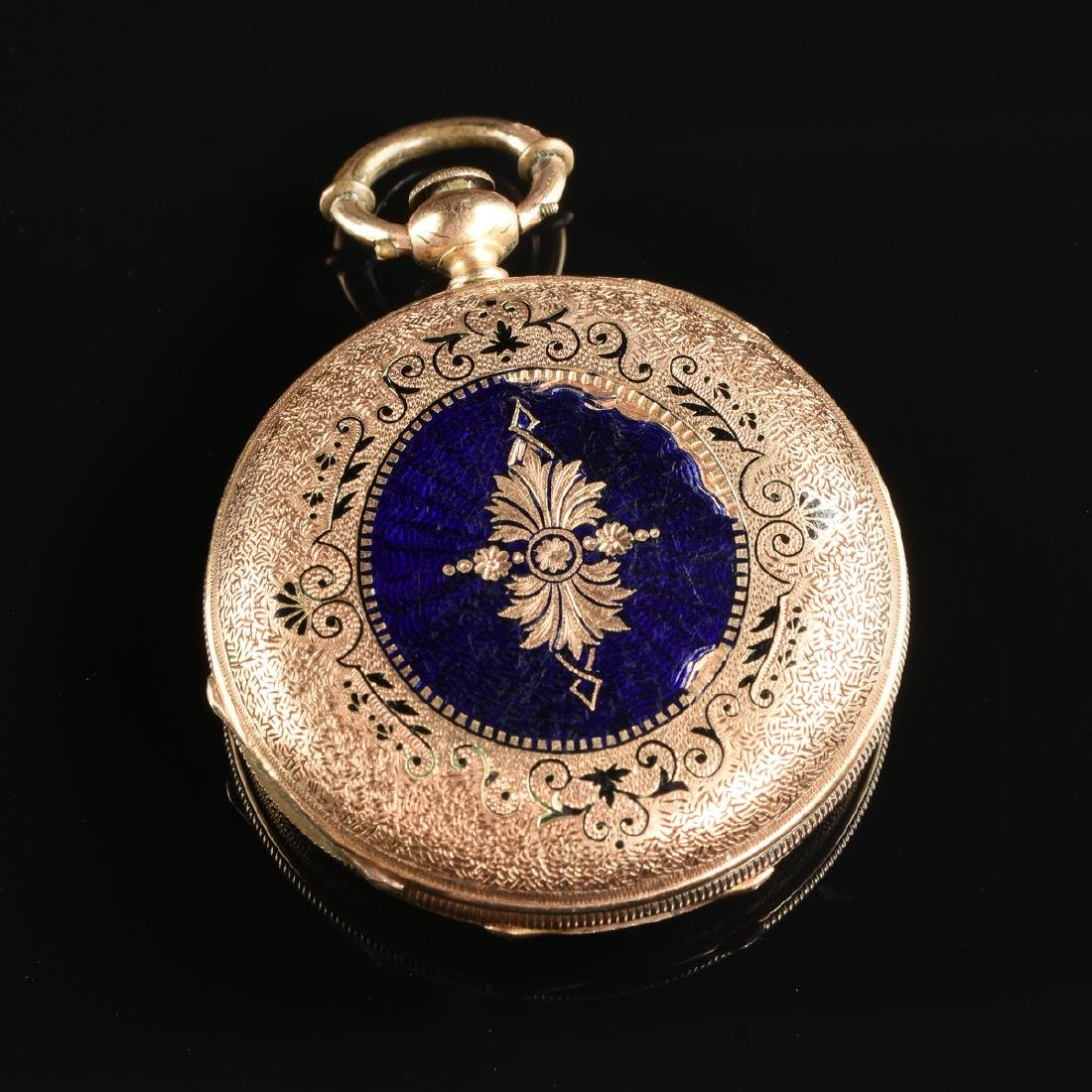 A GROUP OF TWO ENAMELED LADY'S POCKET WATCHES, - 4