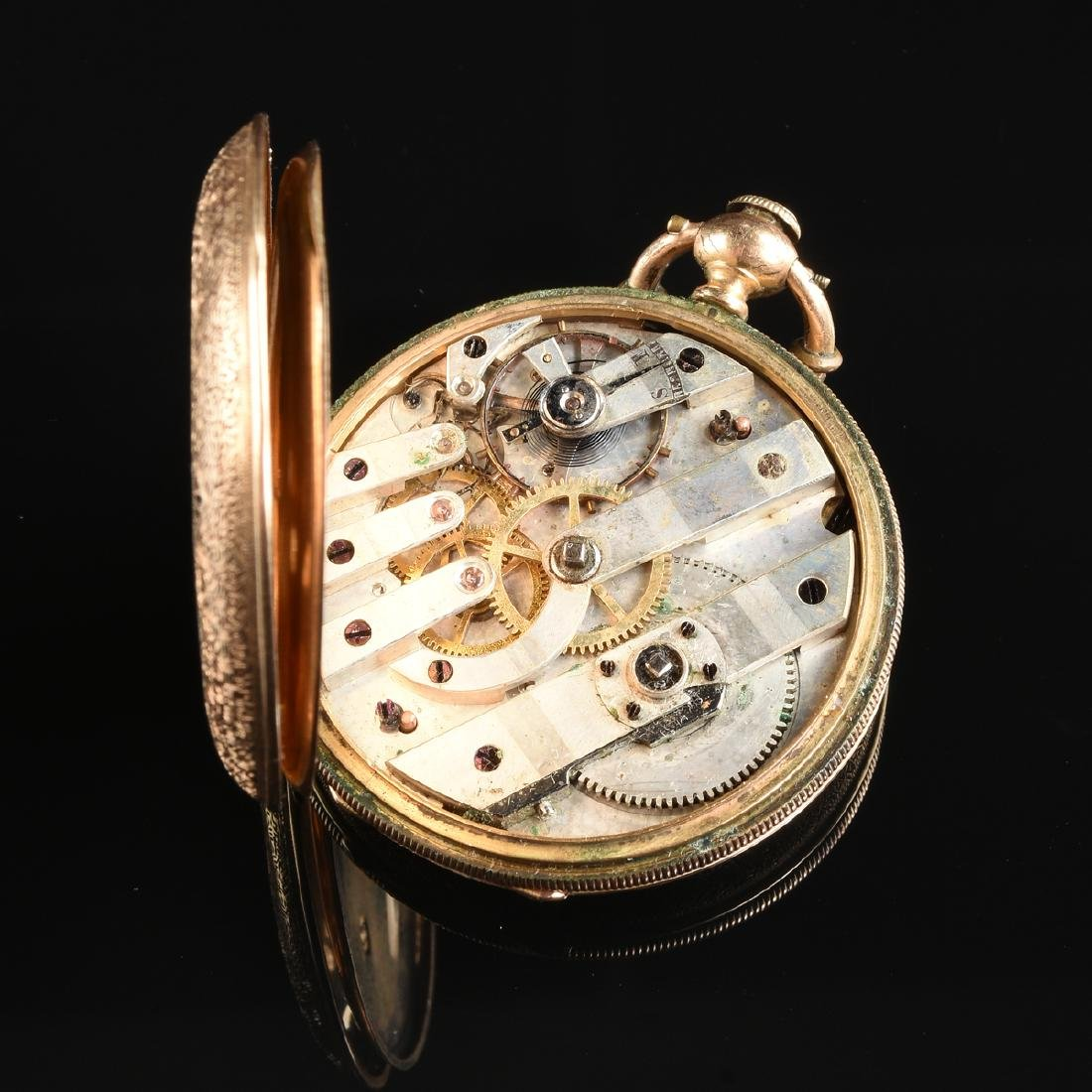 A GROUP OF TWO ENAMELED LADY'S POCKET WATCHES, - 6