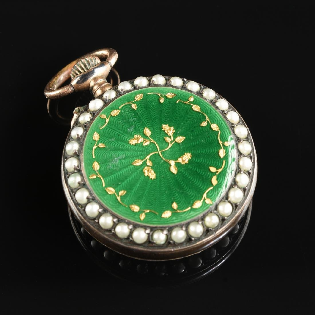 A GROUP OF TWO ENAMELED LADY'S POCKET WATCHES, - 7