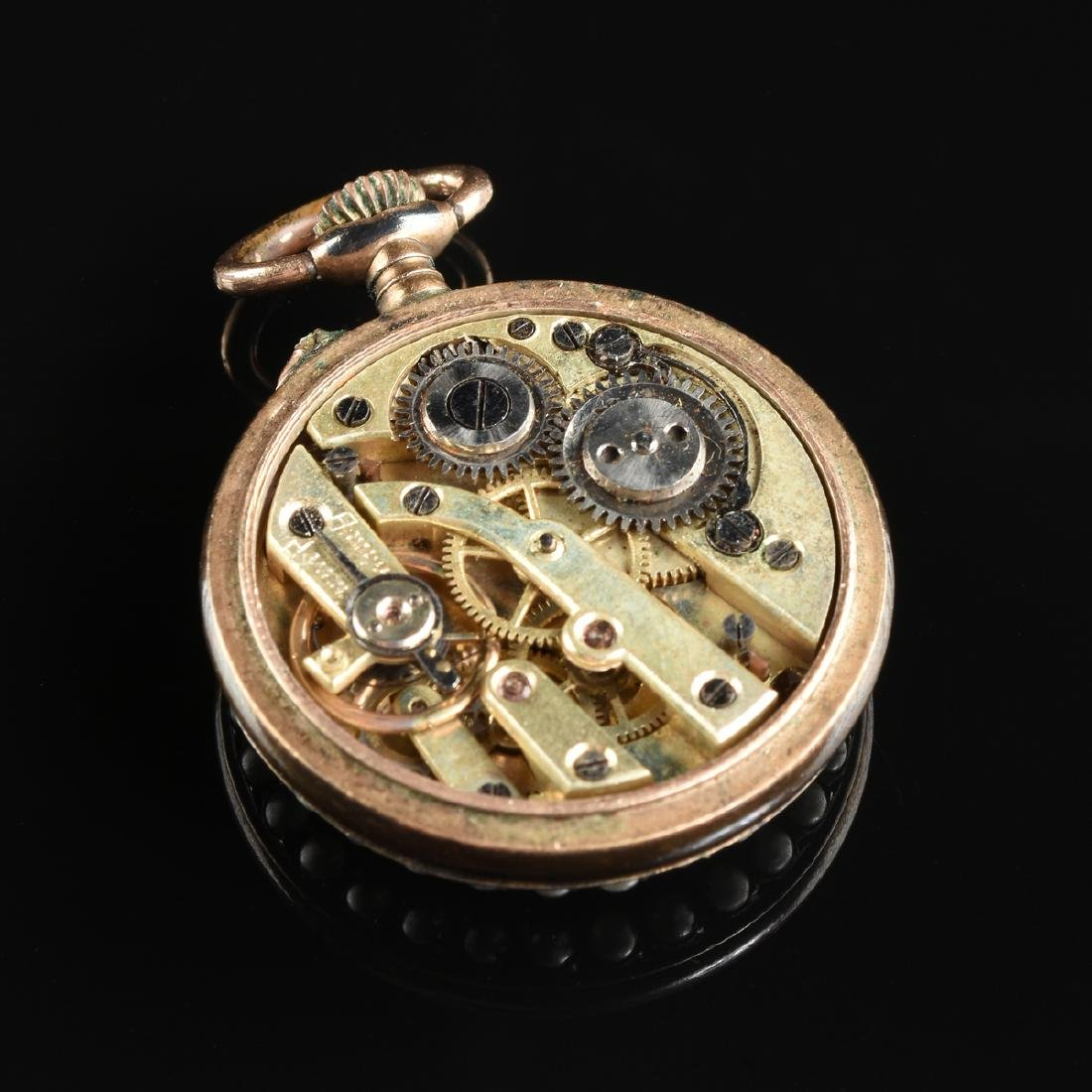 A GROUP OF TWO ENAMELED LADY'S POCKET WATCHES, - 8