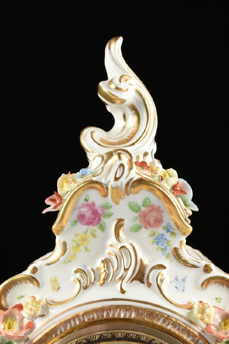 A DRESDEN FLORAL ENCRUSTED AND PAINTED PORCELAIN MANTLE - 5