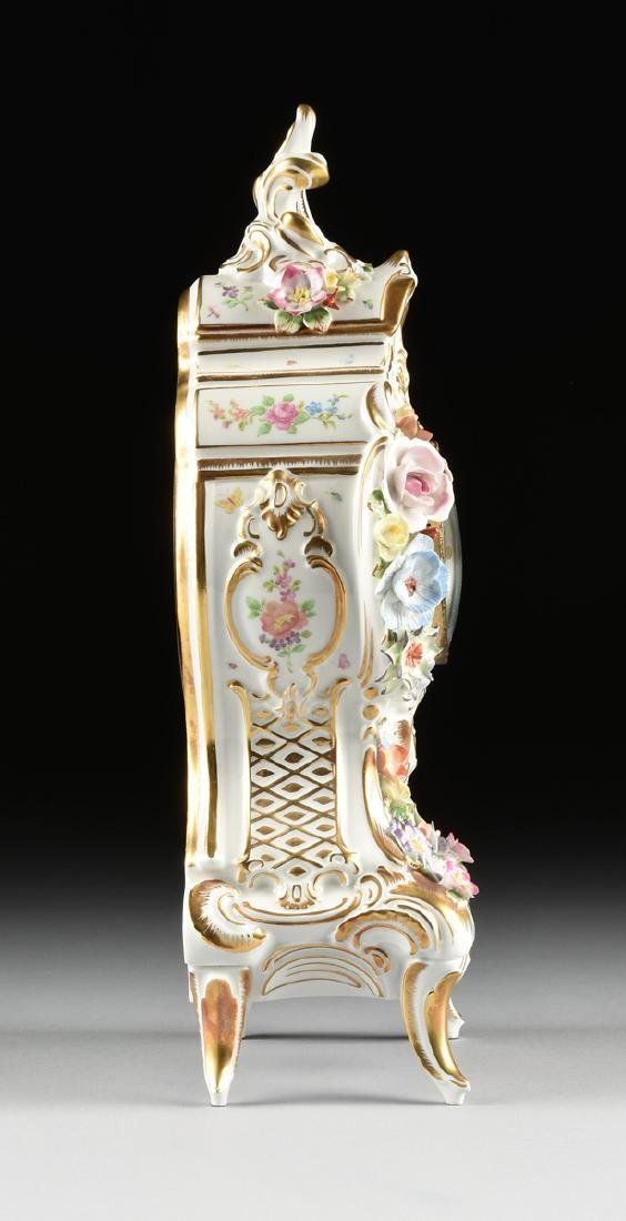 A DRESDEN FLORAL ENCRUSTED AND PAINTED PORCELAIN MANTLE - 7