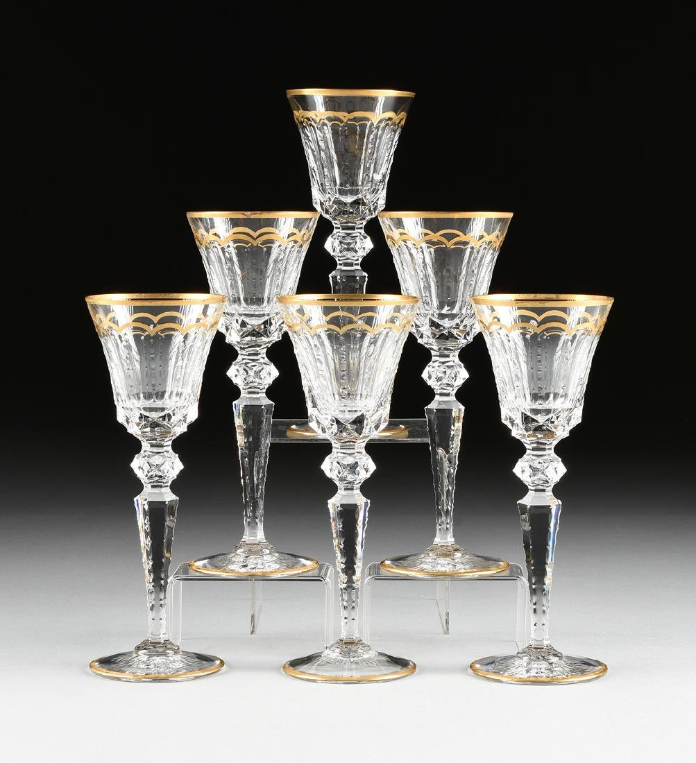 A SET OF SIX SAINT LOUIS CUT CRYSTAL BURGUNDY GLASSES
