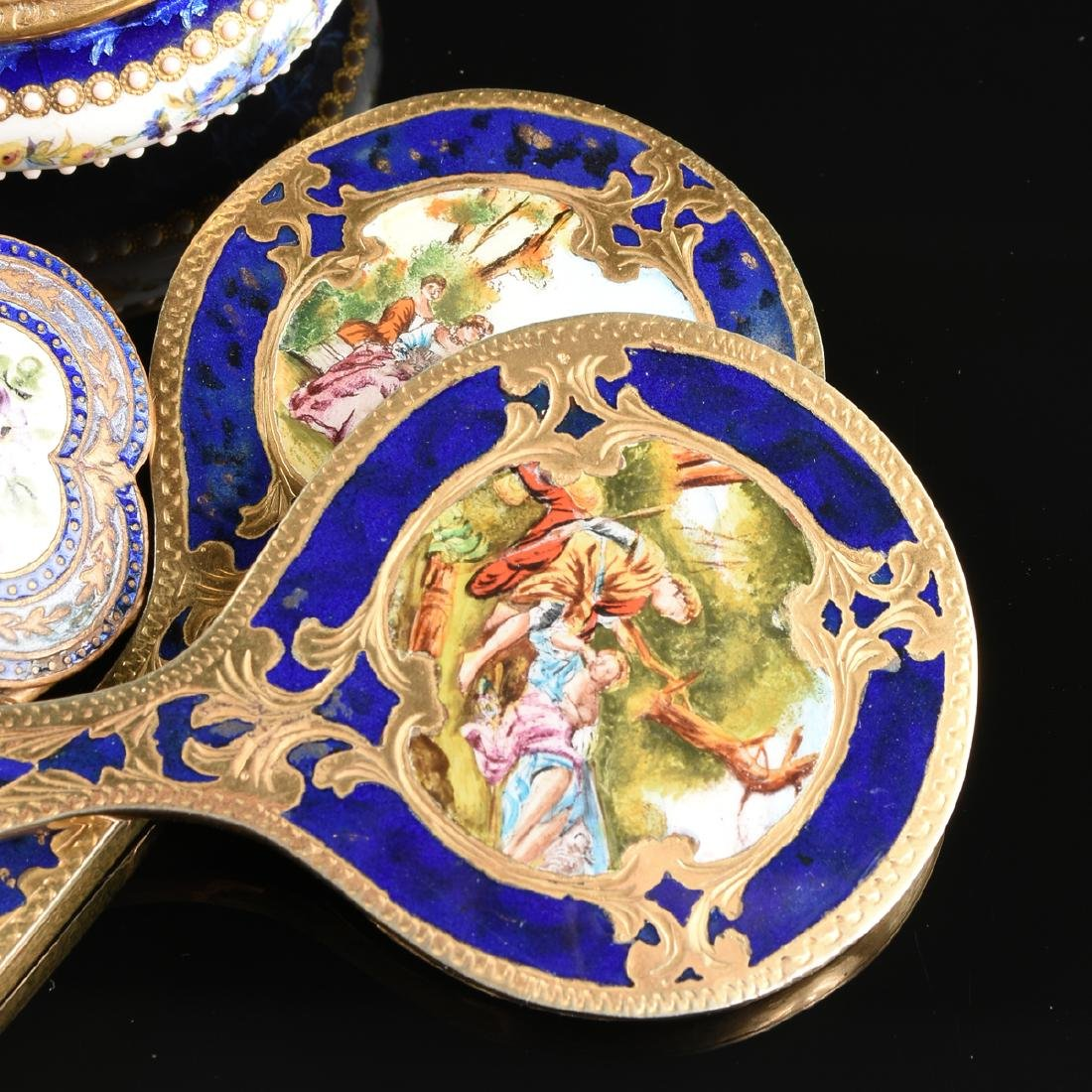 A GROUP OF FIVE ANTIQUE DIMINUTIVE GILT METAL AND - 3