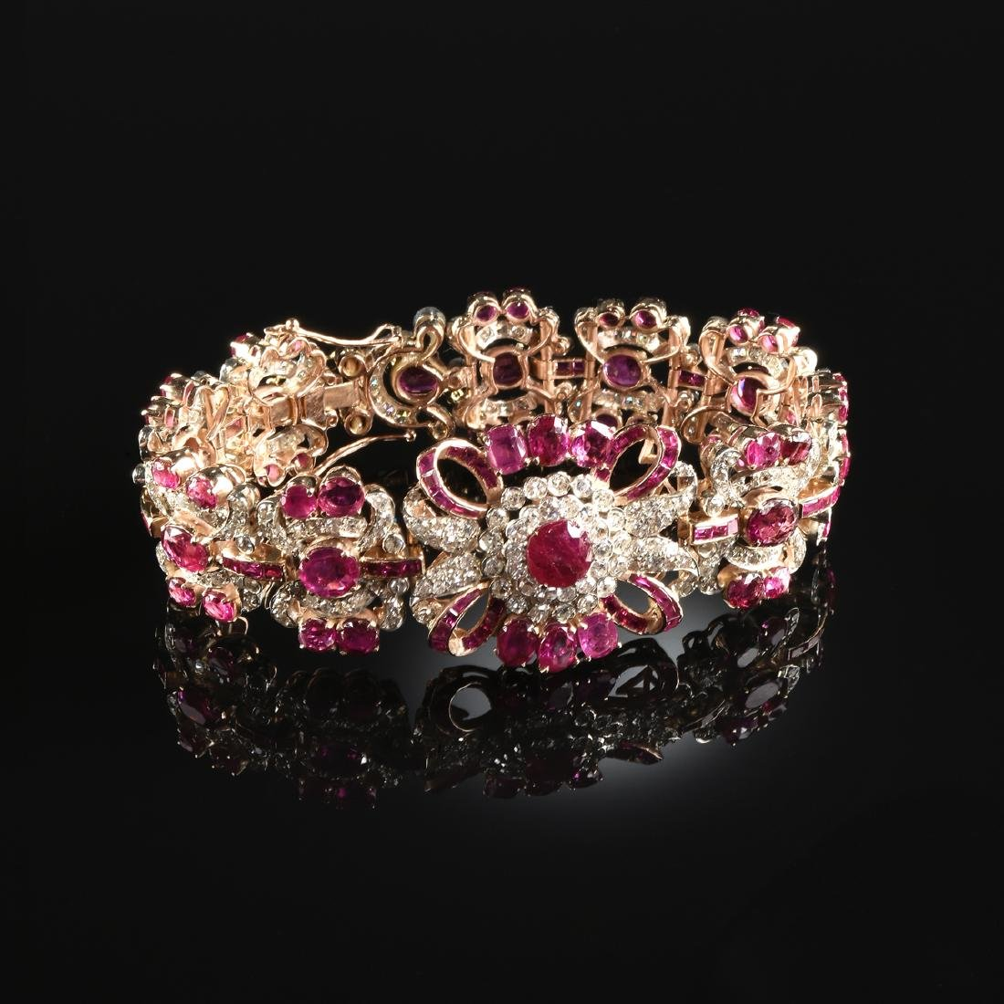 A 14K YELLOW GOLD, RUBY, AND DIAMOND LADY'S BRACELET,