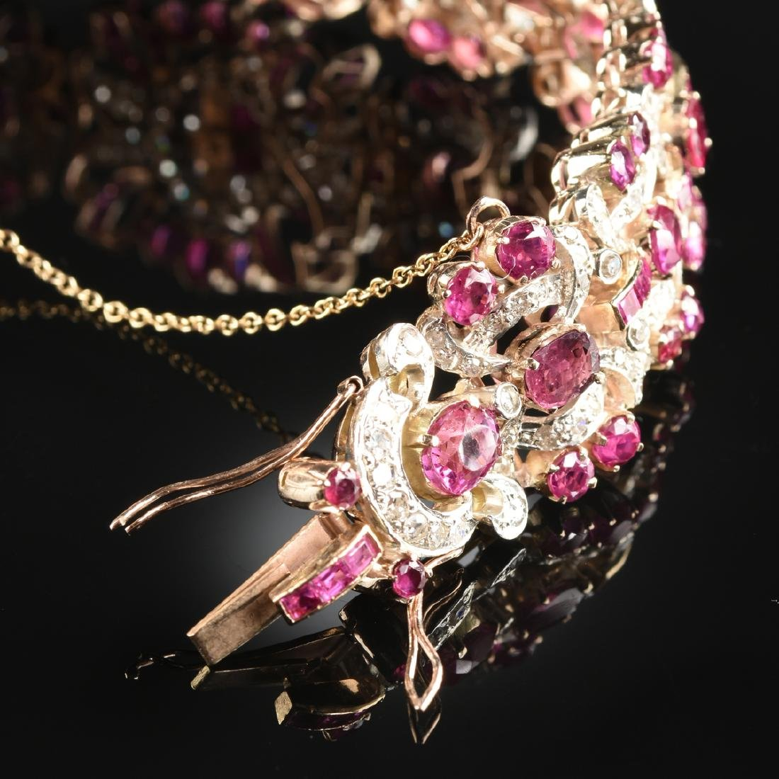 A 14K YELLOW GOLD, RUBY, AND DIAMOND LADY'S BRACELET, - 2
