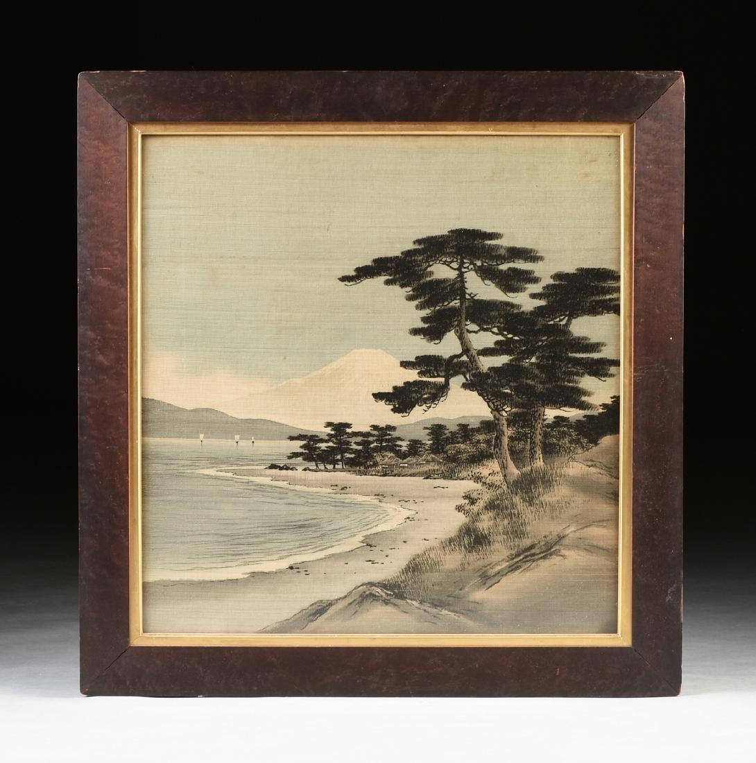 A JAPANESE BIRODO YUZEN CUT VELVET PAINTING, MEIJI
