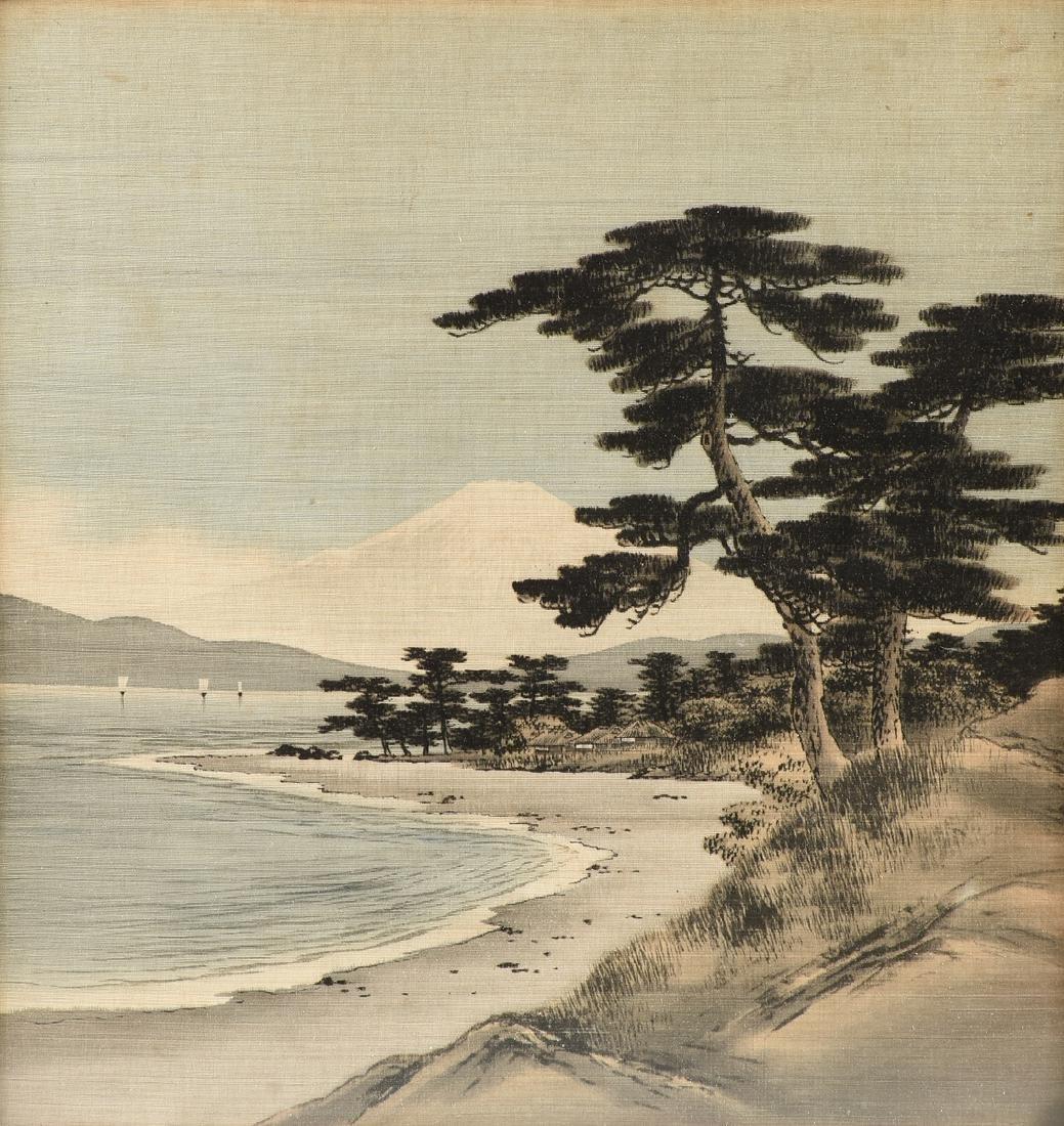 A JAPANESE BIRODO YUZEN CUT VELVET PAINTING, MEIJI - 2