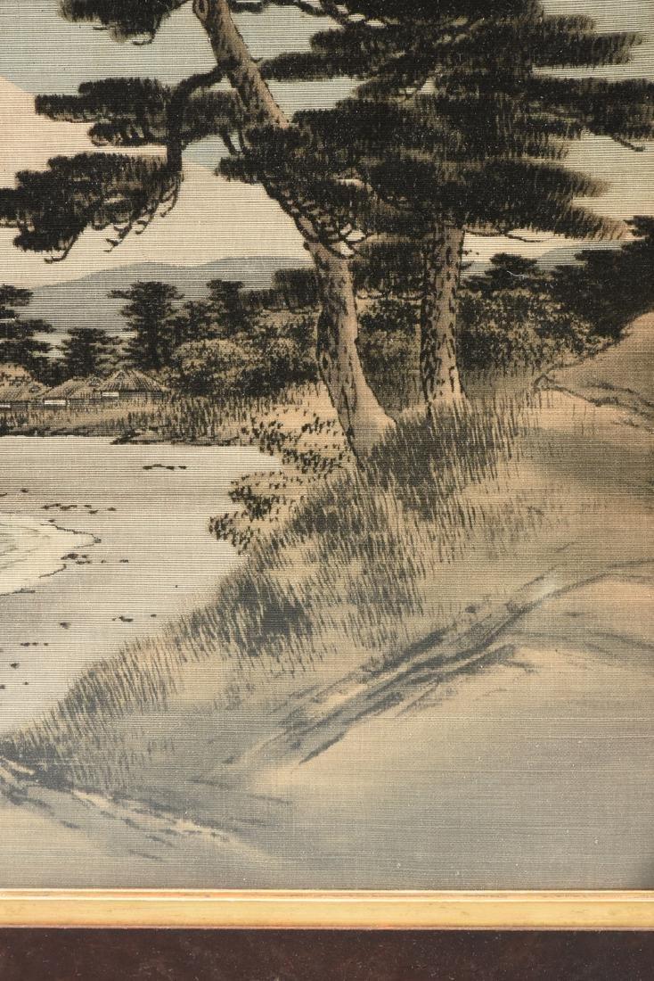 A JAPANESE BIRODO YUZEN CUT VELVET PAINTING, MEIJI - 4
