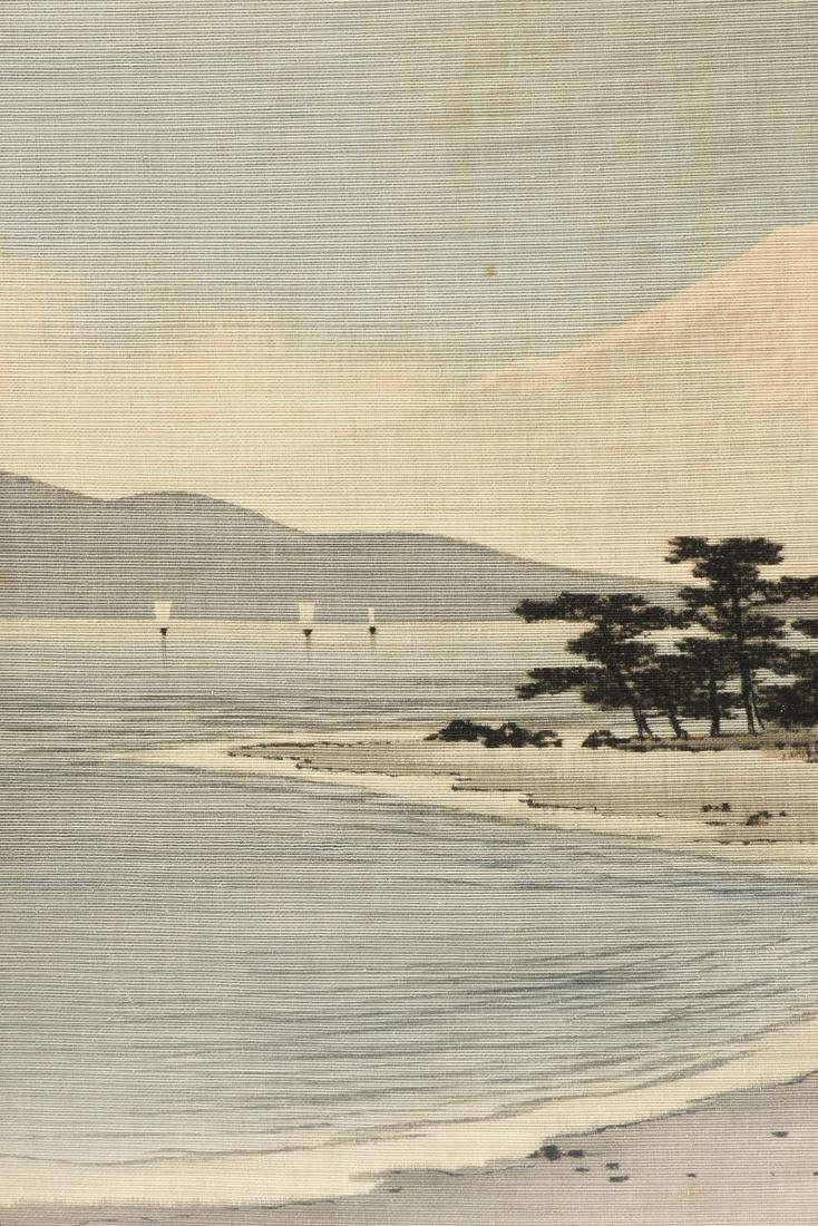A JAPANESE BIRODO YUZEN CUT VELVET PAINTING, MEIJI - 5