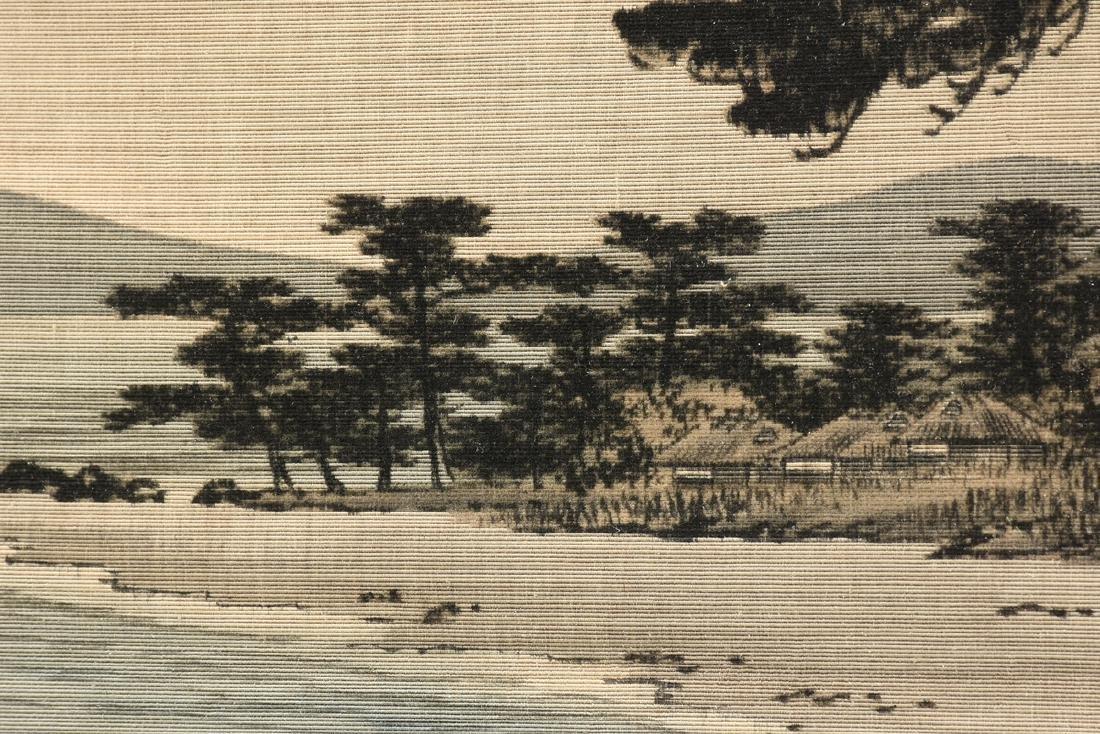 A JAPANESE BIRODO YUZEN CUT VELVET PAINTING, MEIJI - 6
