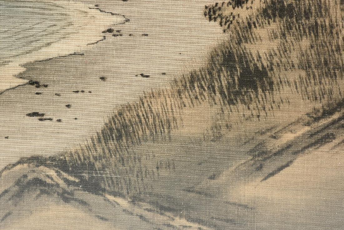 A JAPANESE BIRODO YUZEN CUT VELVET PAINTING, MEIJI - 7