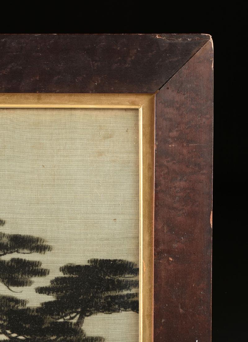 A JAPANESE BIRODO YUZEN CUT VELVET PAINTING, MEIJI - 8