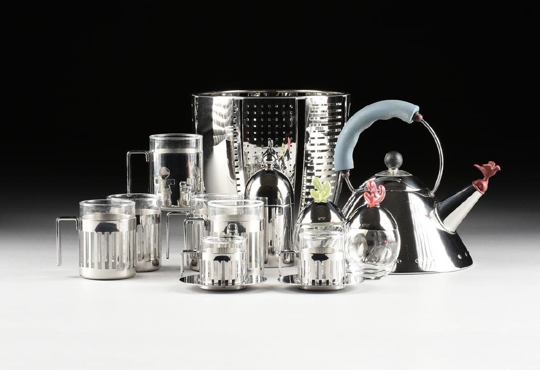 A GROUP OF TWELVE ARCHITECT DESIGNED STAINLESS STEEL