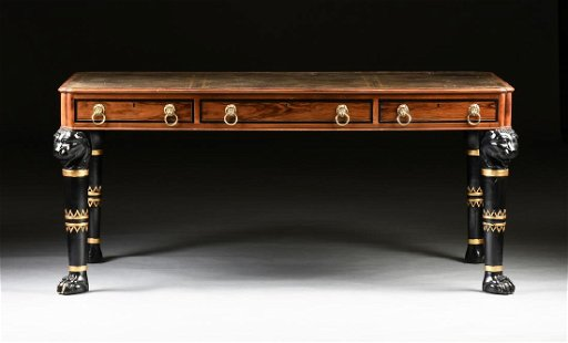A Baker Furniture Egyptian Revival Style Walnut Leather