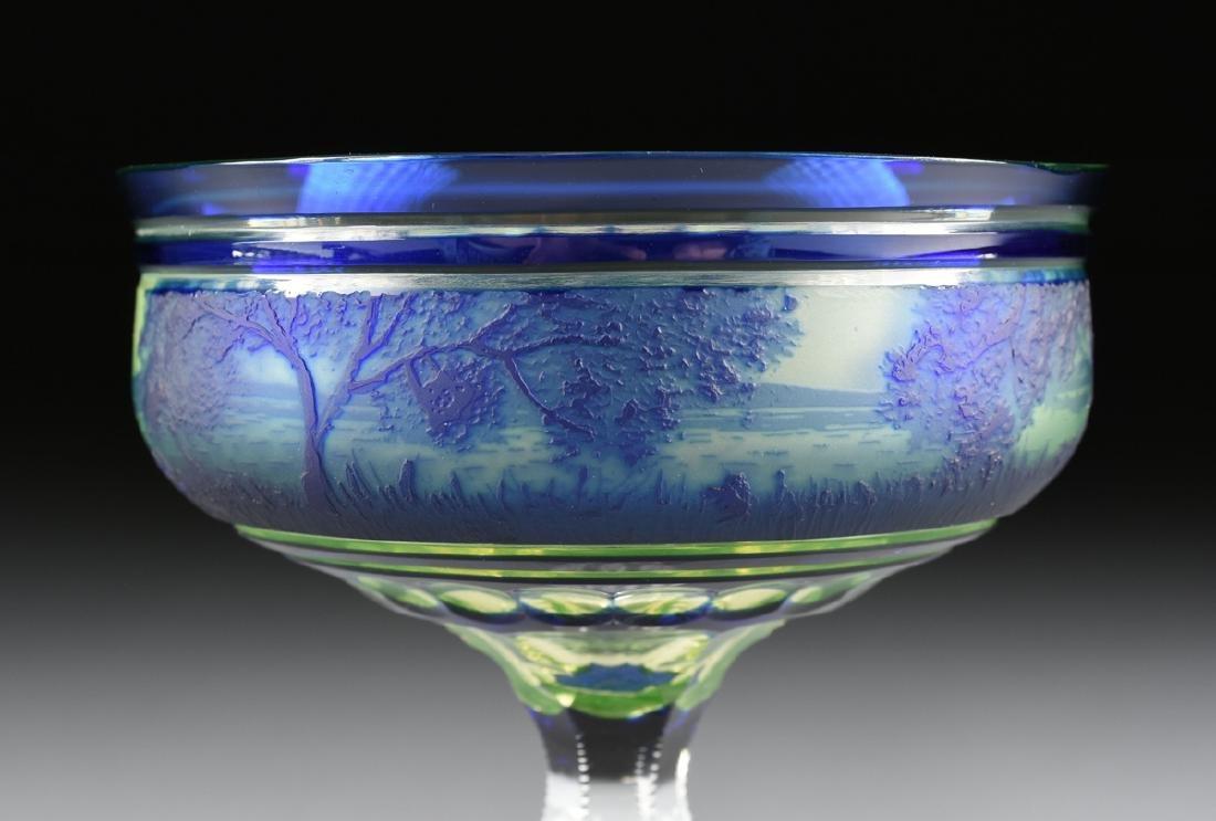 A VAL ST. LAMBERT COBALT BLUE CASED AND CUT CAMEO GLASS - 2