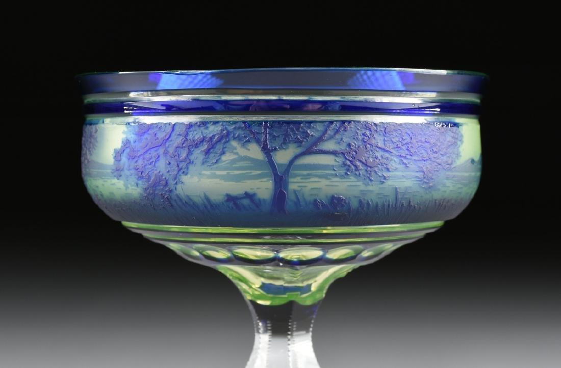 A VAL ST. LAMBERT COBALT BLUE CASED AND CUT CAMEO GLASS - 3