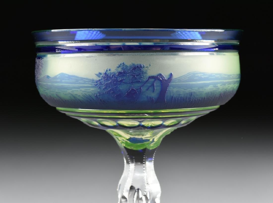 A VAL ST. LAMBERT COBALT BLUE CASED AND CUT CAMEO GLASS - 4