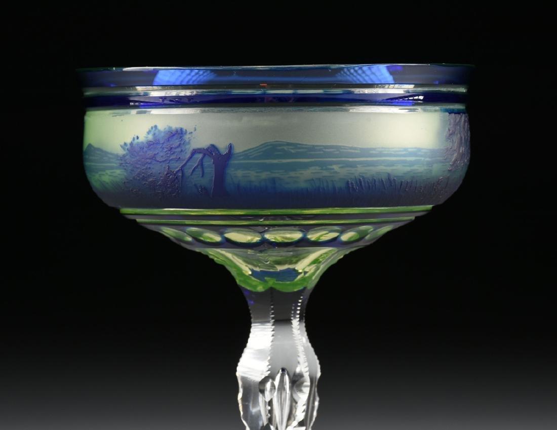 A VAL ST. LAMBERT COBALT BLUE CASED AND CUT CAMEO GLASS - 6