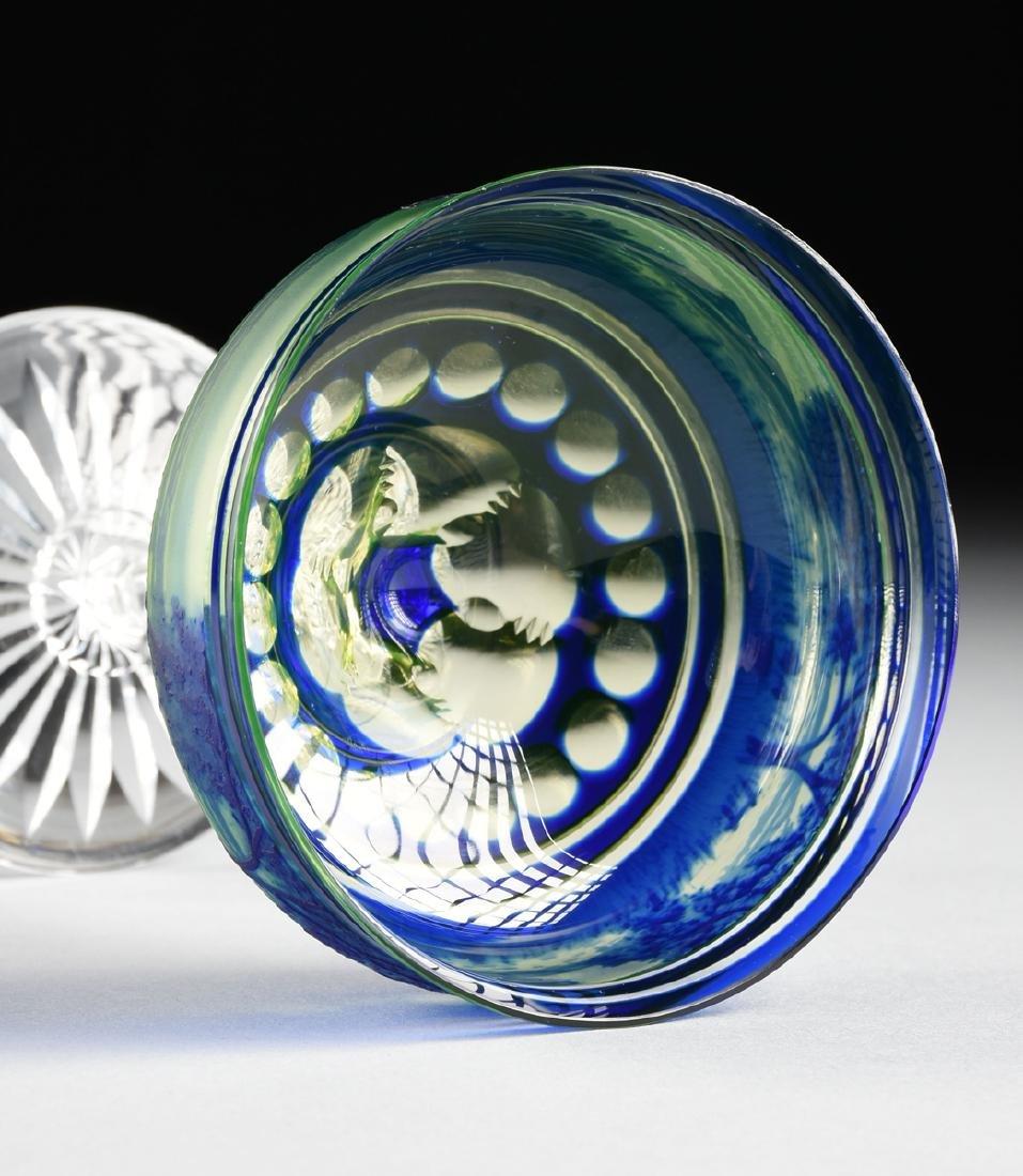 A VAL ST. LAMBERT COBALT BLUE CASED AND CUT CAMEO GLASS - 7