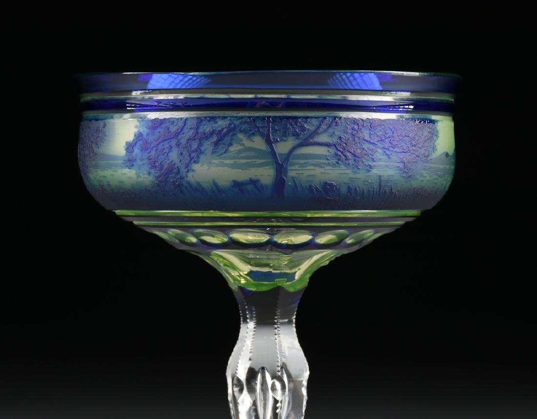 A VAL ST. LAMBERT COBALT BLUE CASED AND CUT CAMEO GLASS - 9