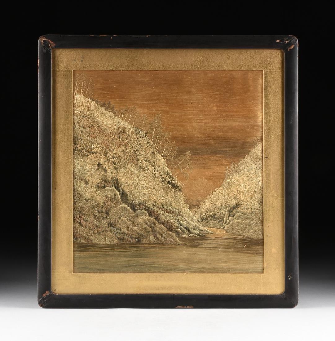 A JAPANESE SILK LANDSCAPE, MEIJI PERIOD (1868-1912),