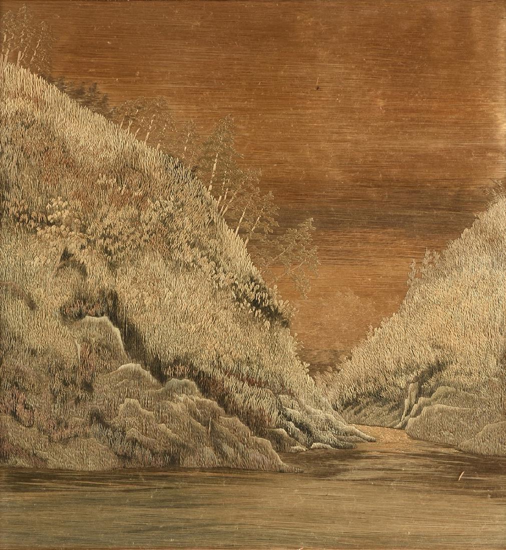 A JAPANESE SILK LANDSCAPE, MEIJI PERIOD (1868-1912), - 2
