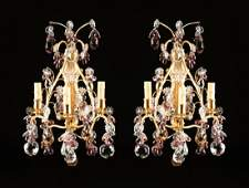 A PAIR OF LOUIS XV STYLE GILT BRONZE AND CRYSTAL THREE