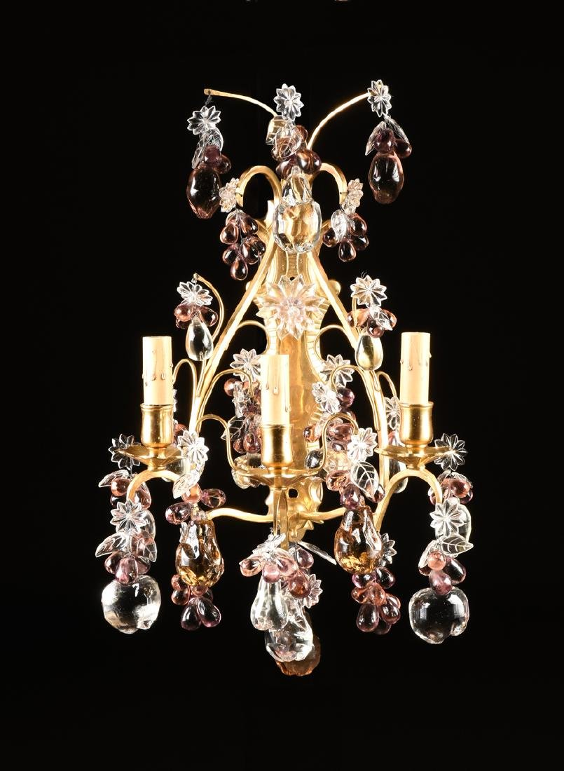 A PAIR OF LOUIS XV STYLE GILT BRONZE AND CRYSTAL THREE - 2