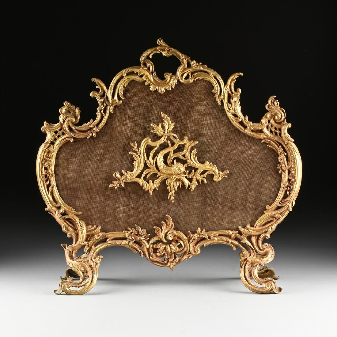 A FRENCH LOUIS XV STYLE GILT BRASS FIRE SCREEN, SECOND