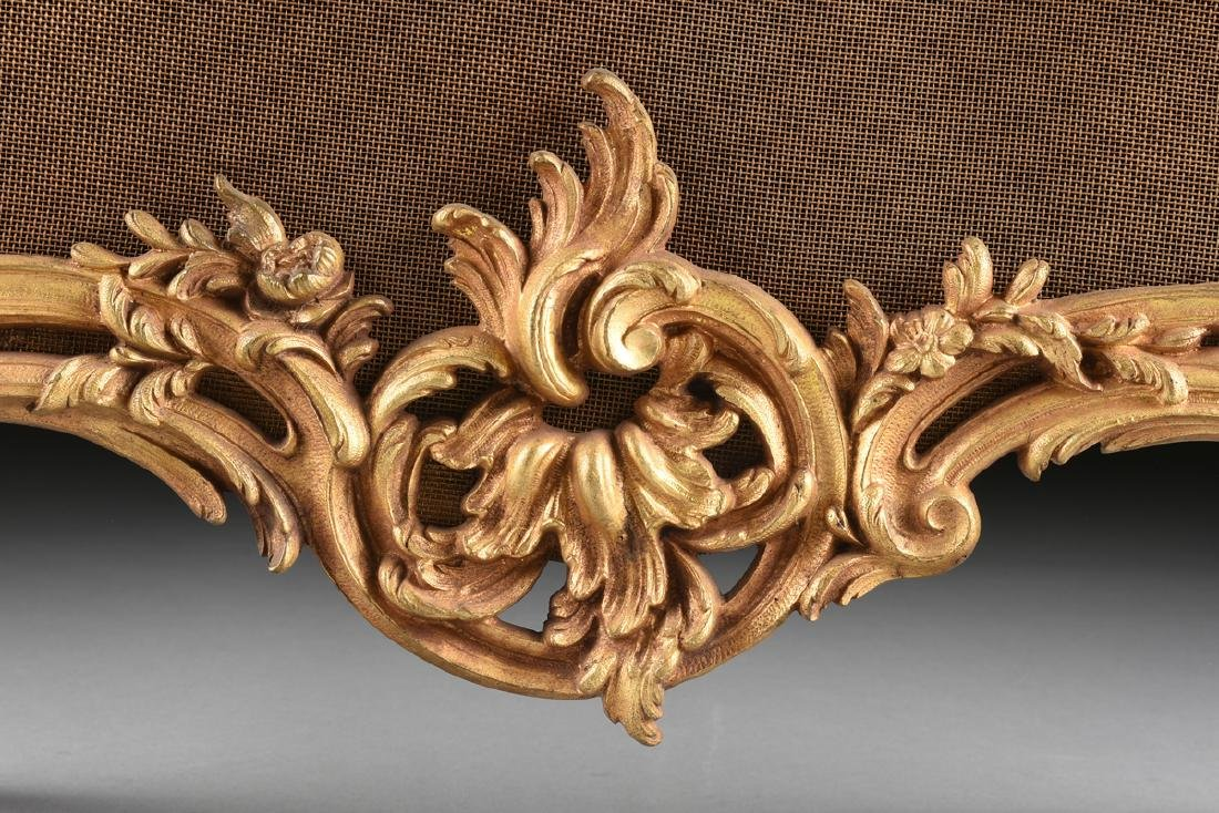 A FRENCH LOUIS XV STYLE GILT BRASS FIRE SCREEN, SECOND - 4