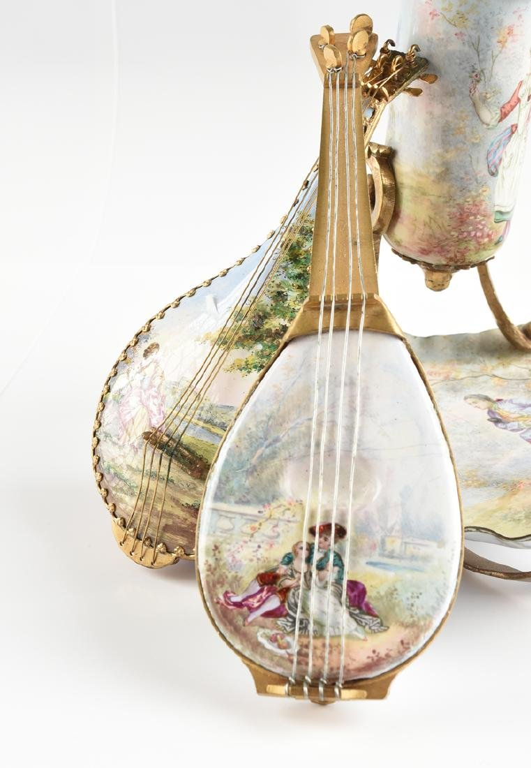 TWO AUSTRIAN PAINTED ENAMEL LUTE FORM BOXES AND A - 3
