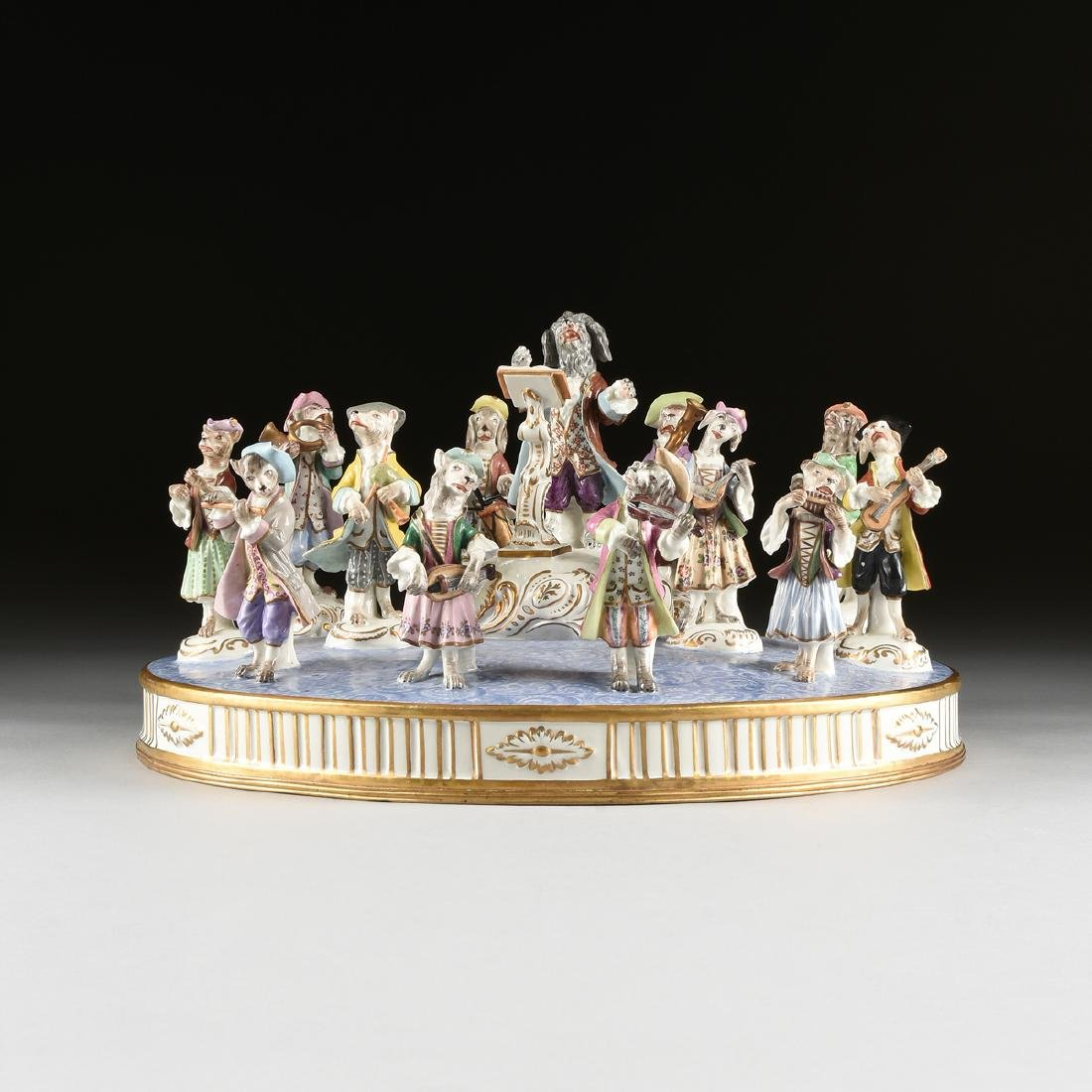A LARGE FRENCH PAINTED PORCELAIN FIGURAL GROUP OF THE