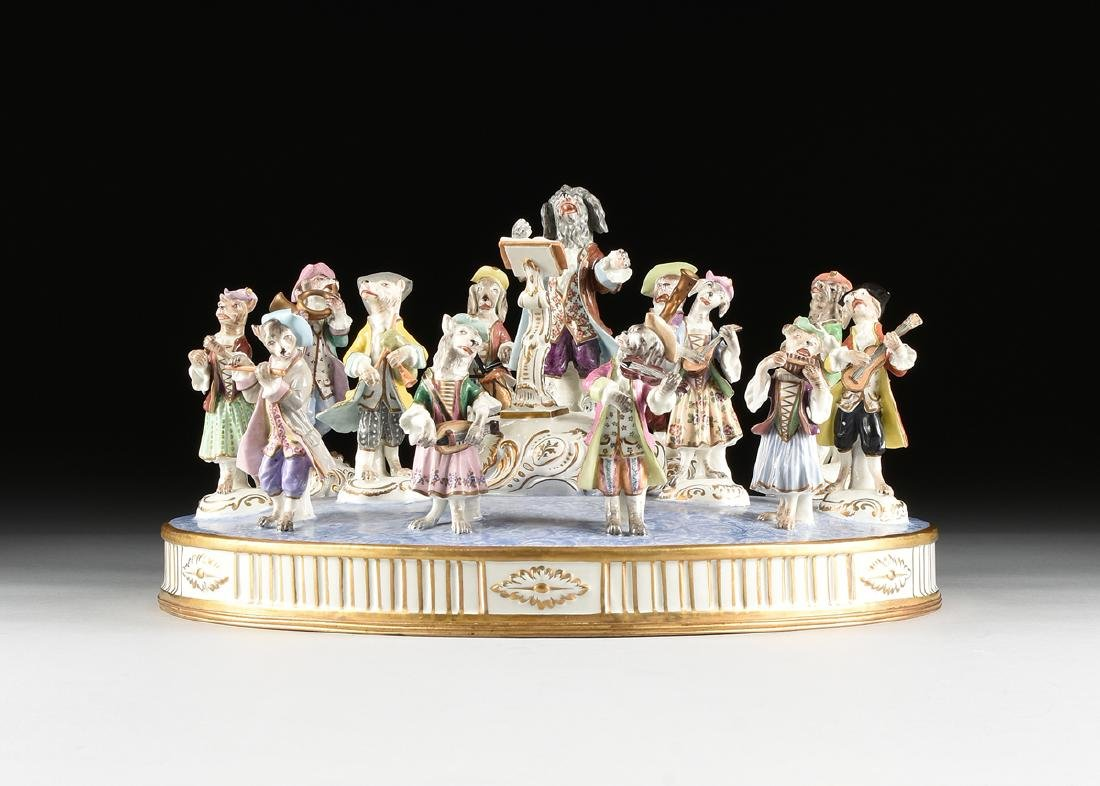 A LARGE FRENCH PAINTED PORCELAIN FIGURAL GROUP OF THE - 2
