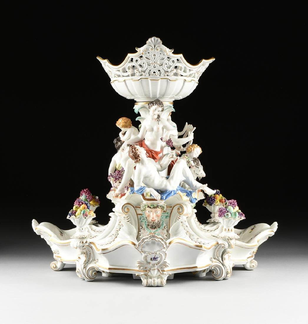 A FIVE PIECE DRESDEN GILT AND PAINTED PORCELAIN FIGURAL