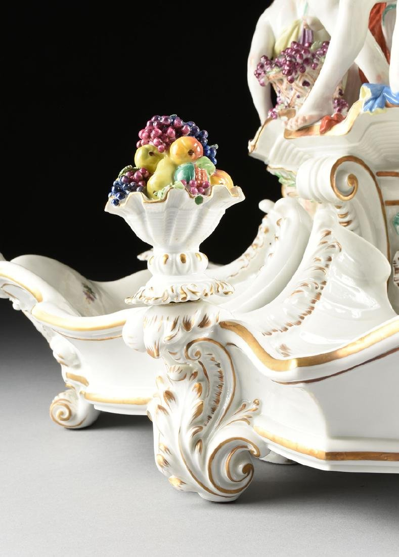 A FIVE PIECE DRESDEN GILT AND PAINTED PORCELAIN FIGURAL - 4