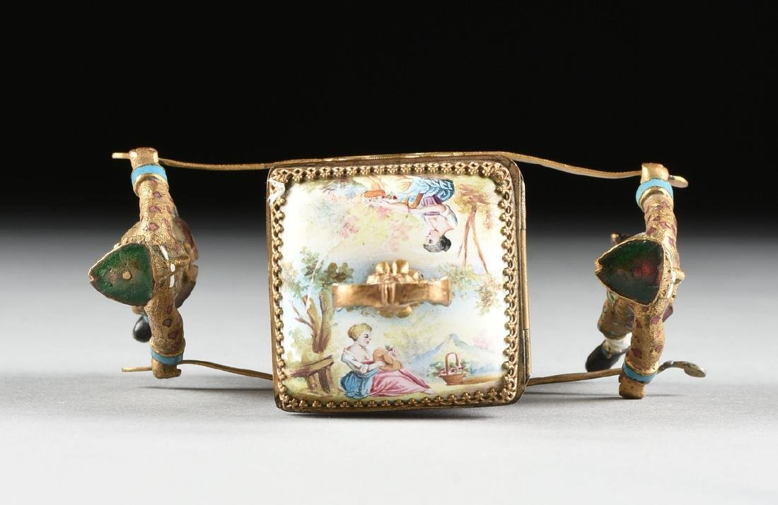 A VIENNESE MINIATURE FAUX JEWELED AND ENAMEL SEDAN - 10